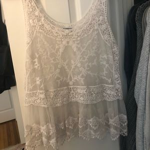 Express White Lace Tank Top